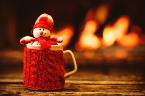 Toy snowman in a mug
